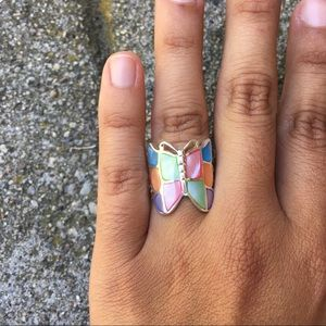 Peruvian Silver Mother Of Pearl Butterfly Ring